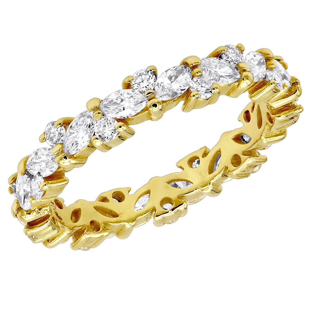 Anniversary Ring 18K Gold Round & Marquise Diamond Eternity Band 2.25Ct Yellow Image