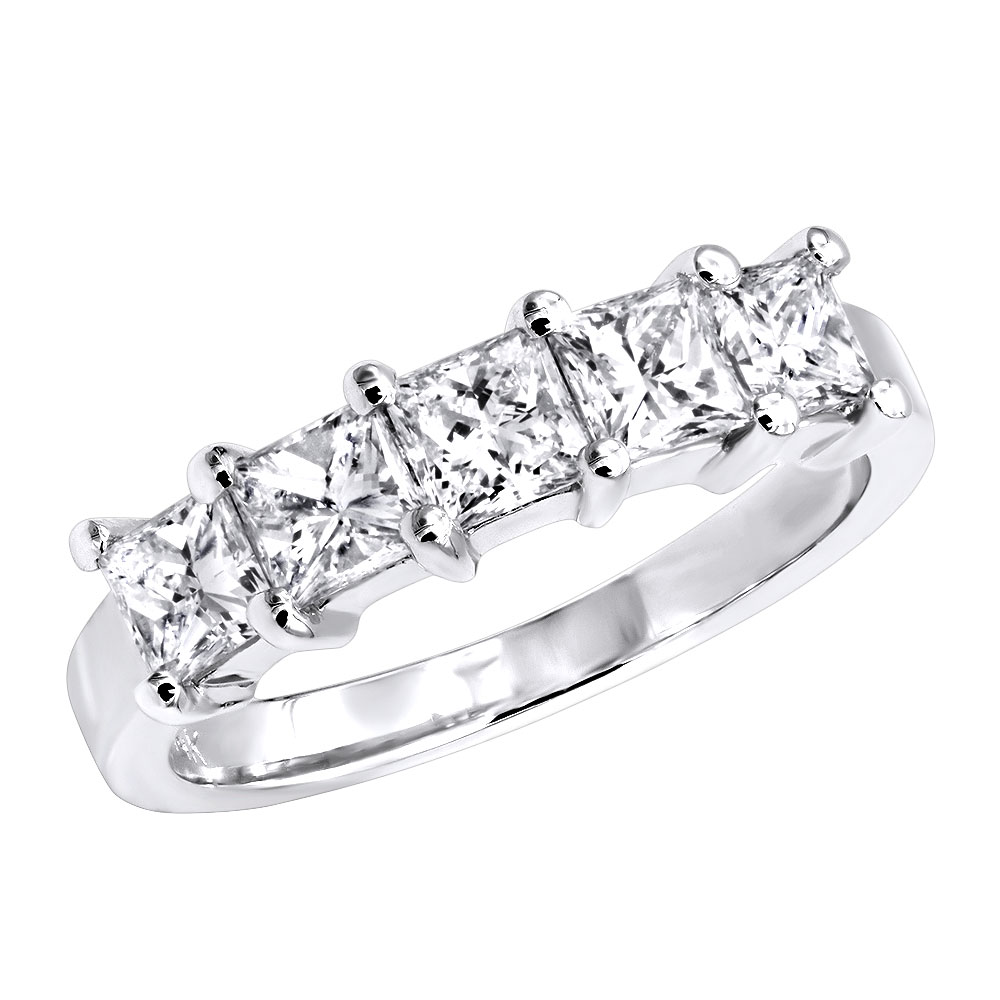 Anniversary Rings 14K Gold 5 Stone Princess Cut Diamond Wedding Band For Women