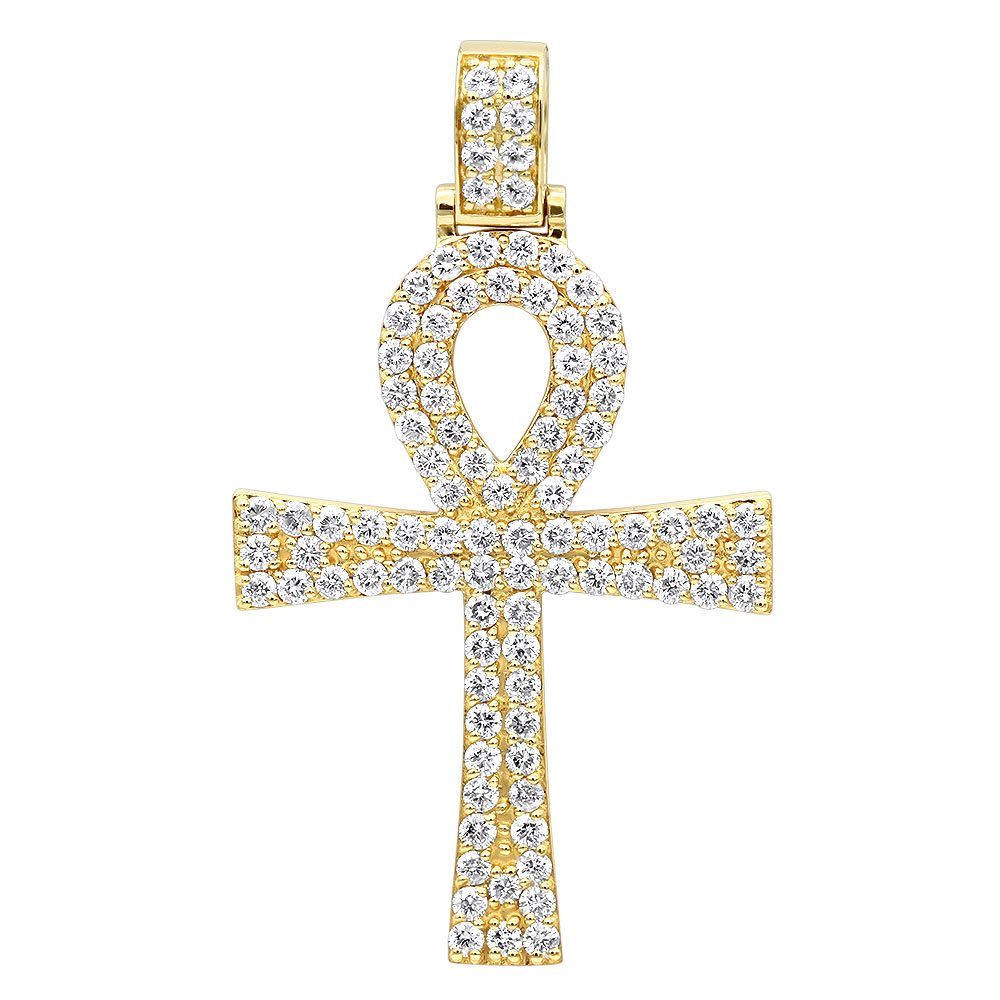 Egyptian Ankh Cross Diamond Pendant for Men in 14K Gold G VS Yellow Image