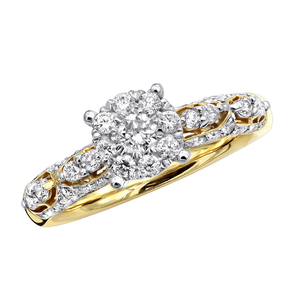 Antique Style Engagement Ring 14K Gold 0.75CT Round Cluster Diamonds Yellow Image