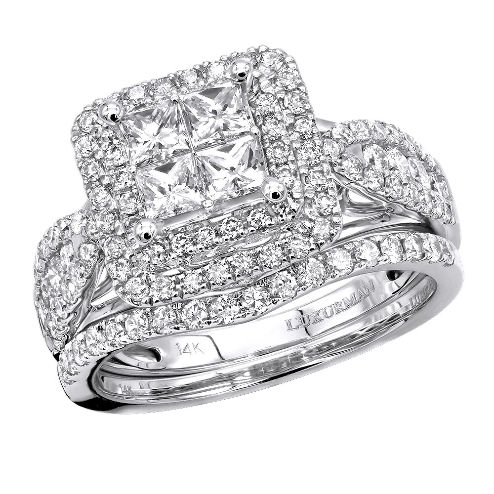 Round and Princess Cut Diamond Engagement Ring and Wedding ...