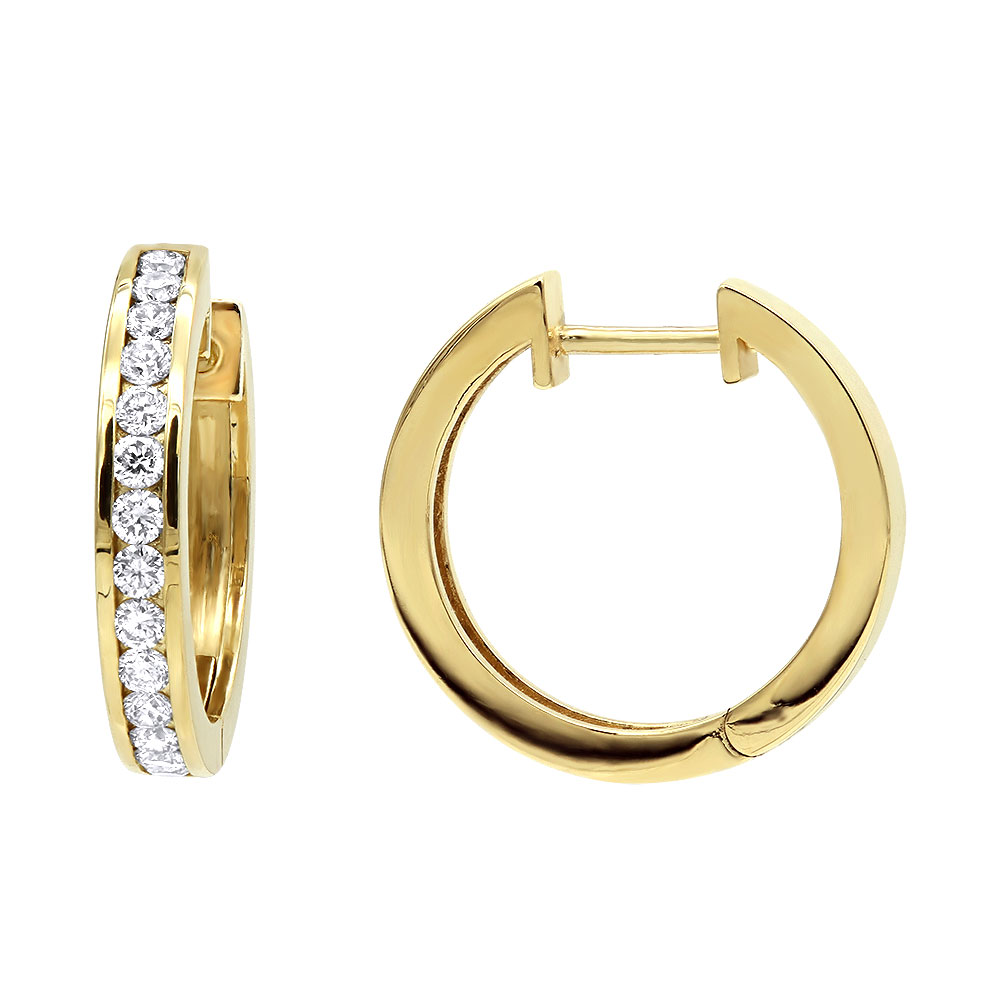 Classy Small 1/2 inch Diamond Hoop Earrings 14K Gold Huggies Round Diamonds Yellow Image