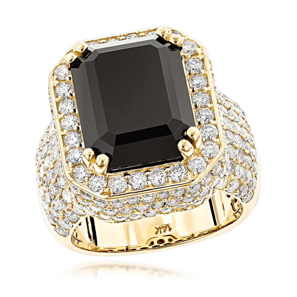 Custom Made 14K Gold Diamond Ring with Black Onyx for Men and Women 4.65ct Yellow Image