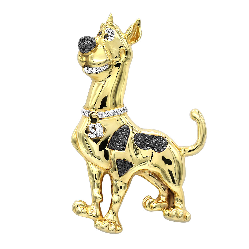 Custom Real Diamond Scooby Doo Cartoon Pendant for Men in 10K Gold 0.9ct Yellow Image