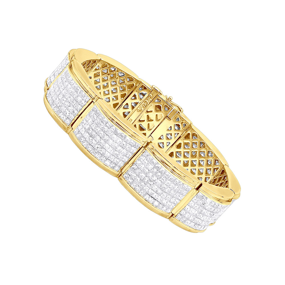 Designer 45ct Mens Diamond Bracelet 14K Gold Princess Cut Invisible Set Diamonds Yellow Image