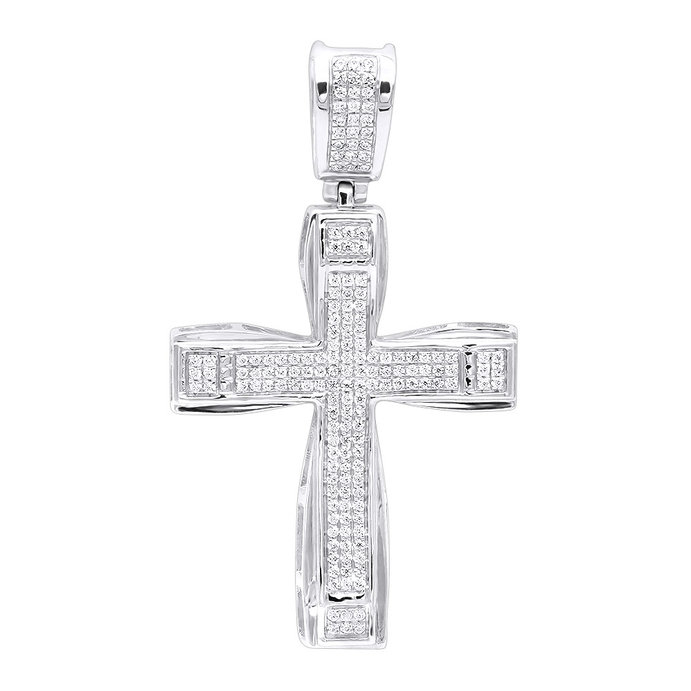Double Layer Real 14k Gold Pave Diamond Cross Pendant For Men & Women 0.75c White Image