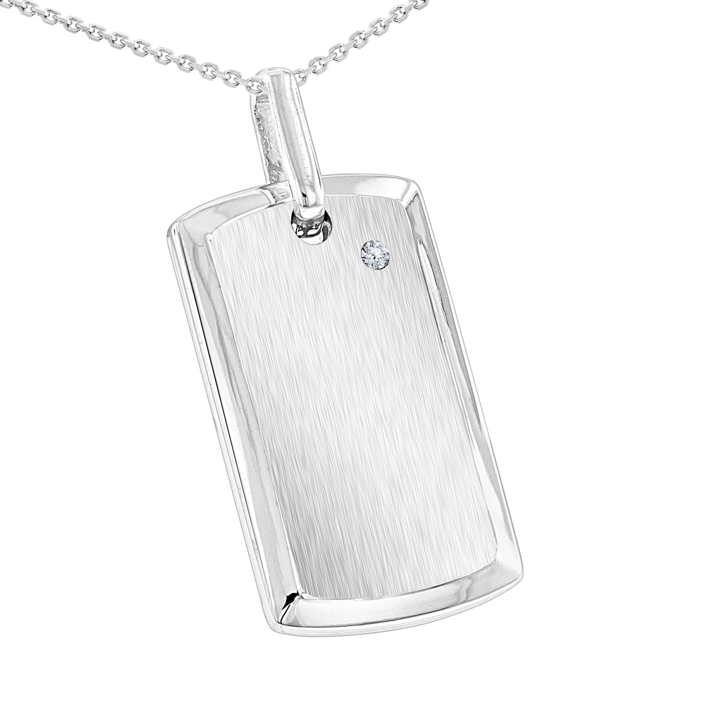 Engravable Sterling Silver Diamond Dog Tag Pendant For Men
