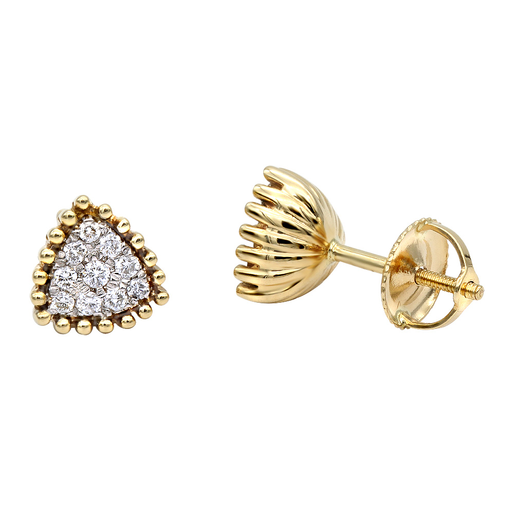 Fashion Triangle Cluster Diamond Earrings Studs in 14k Gold by Luxurman  Yellow Image