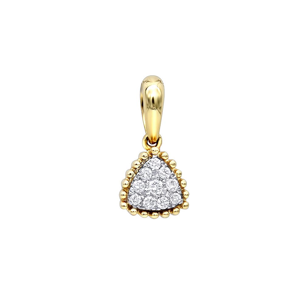 Fashion Triangle Cluster Diamond Pendant for Women in 14k Gold by Luxurman Yellow Image