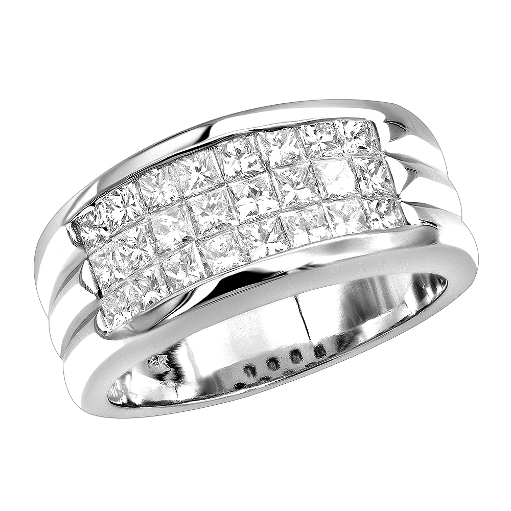 G VS Invisible Princess Cut Diamond Ring for Men 14K Gold Band 2.5CT White Image