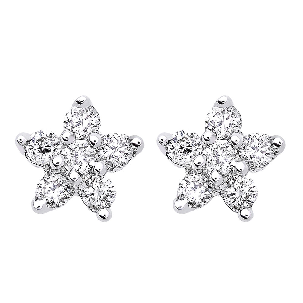 Genuine Diamond Star Stud Earrings Cluster Starfish Design 14K Gold 0.2ct White Image