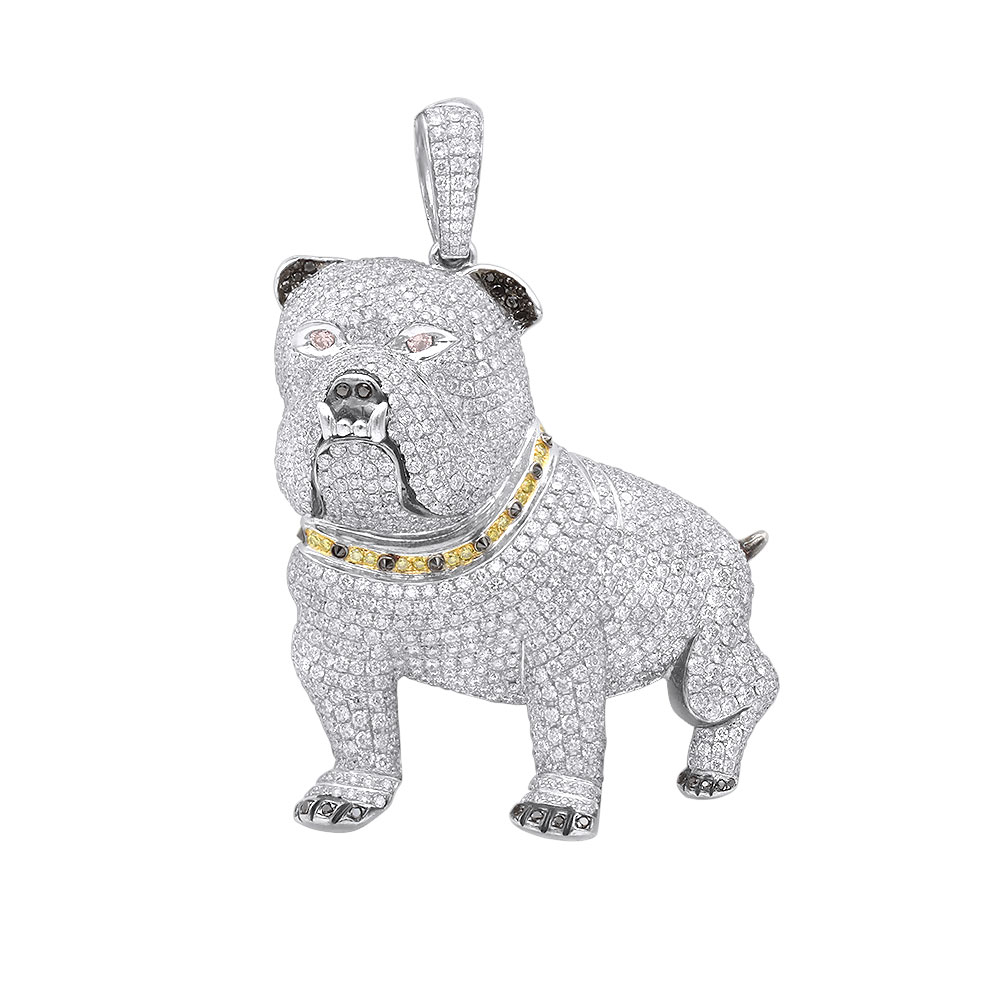 Genuine White Black Yellow Pink Diamond Bulldog Pendant in Real 14k gold 17.23ct White Image