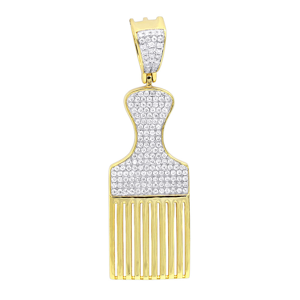 Hip Hop Jewelry Fancy Afro Pick Comb Diamond Pendant for Men in 10K Gold Yellow Image