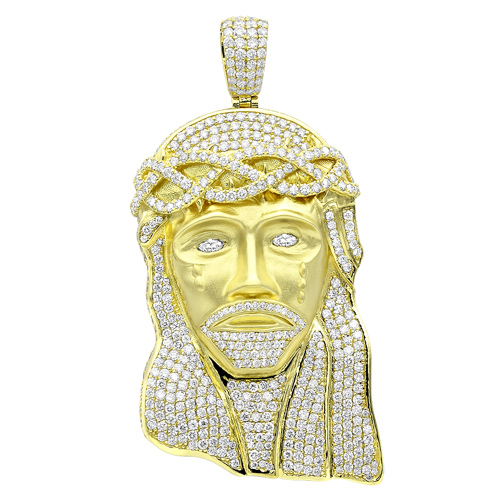 Hip Hop Jewelry Piece Large Jesus Face VS Diamond Pendant for Men 18K Gold Yellow Image