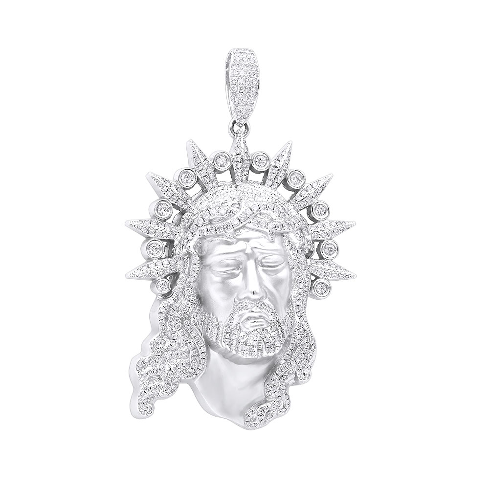 Hip Hop Jewelry Pieces: Unique Large Diamond 14K Gold Jesus Head Pendant  White Image