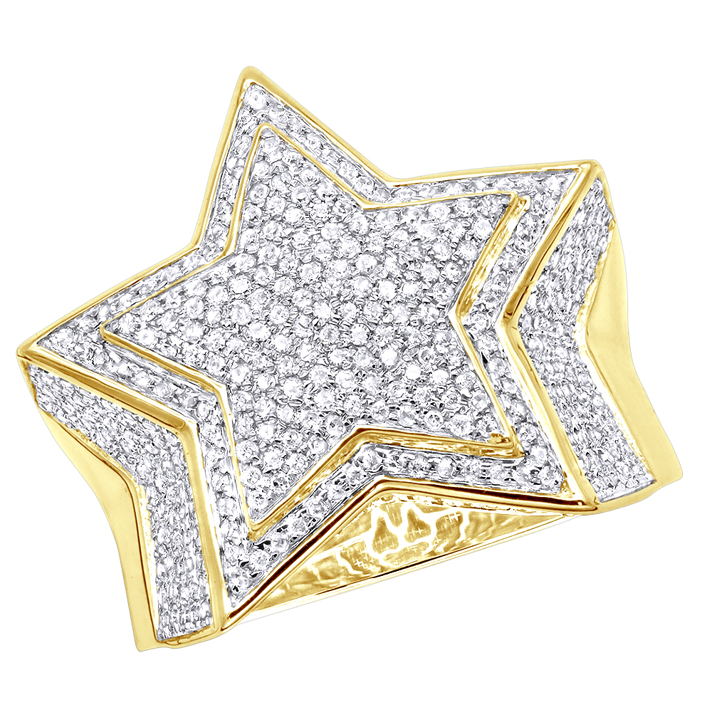 Hip Hop Jewelry Real 10k Gold Five Pointed Star Diamond Ring for Men 1.5ct Yellow Image