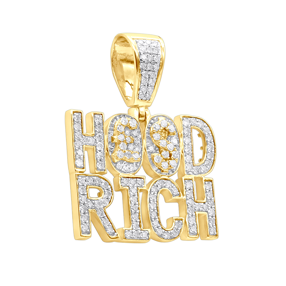 Hip Hop Jewelry Real 10K Gold Rich Hood Pendant for Men 2CT Diamonds Yellow Image