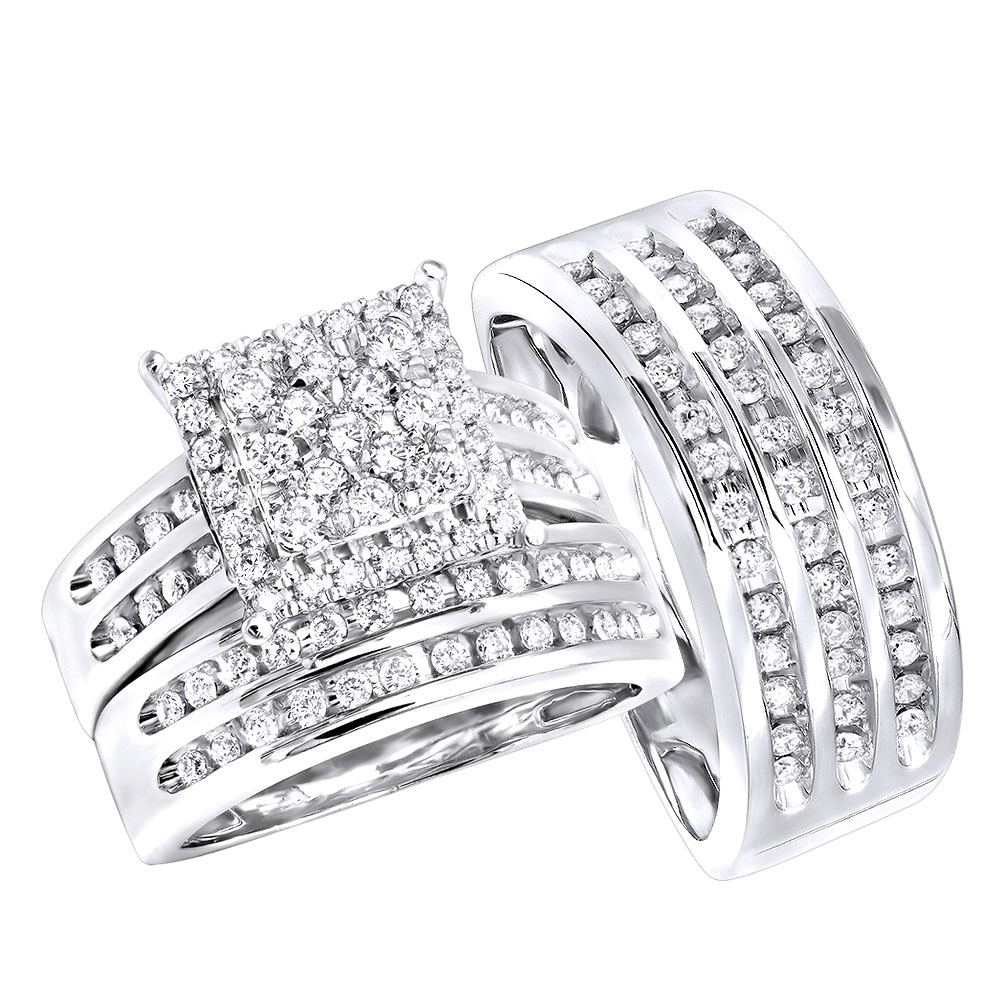 His and Hers Diamond Engagement Trio Ring Set 14k Gold 1.5CT by Luxurman White Image