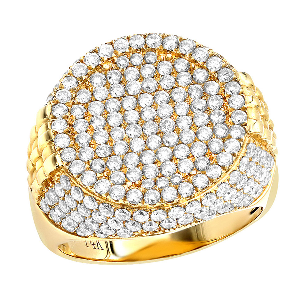 Imperial Design Diamond Ring For Men In 14K Gold by Luxurman 3.75ct Yellow Image