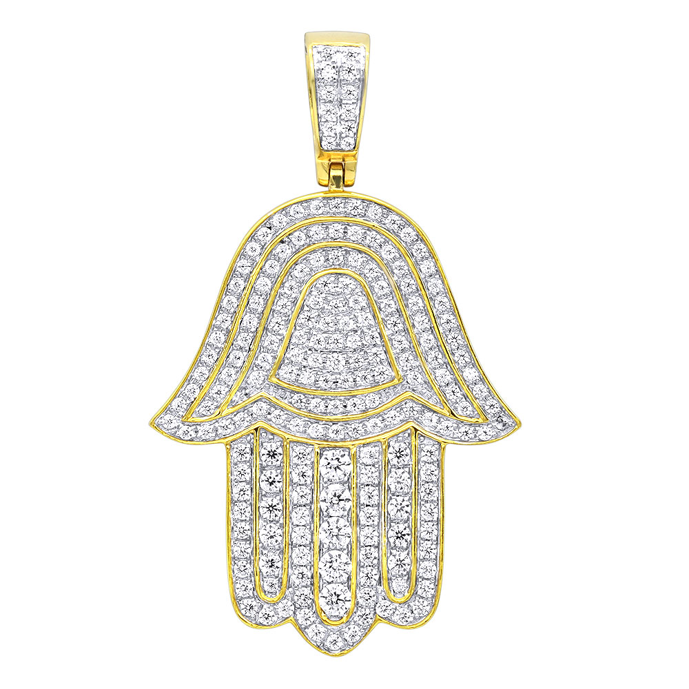 Jewish Jewelry Large Iced Out Hamsa Hand Pendant 14K Gold 2CT Diamond Charm Yellow Image