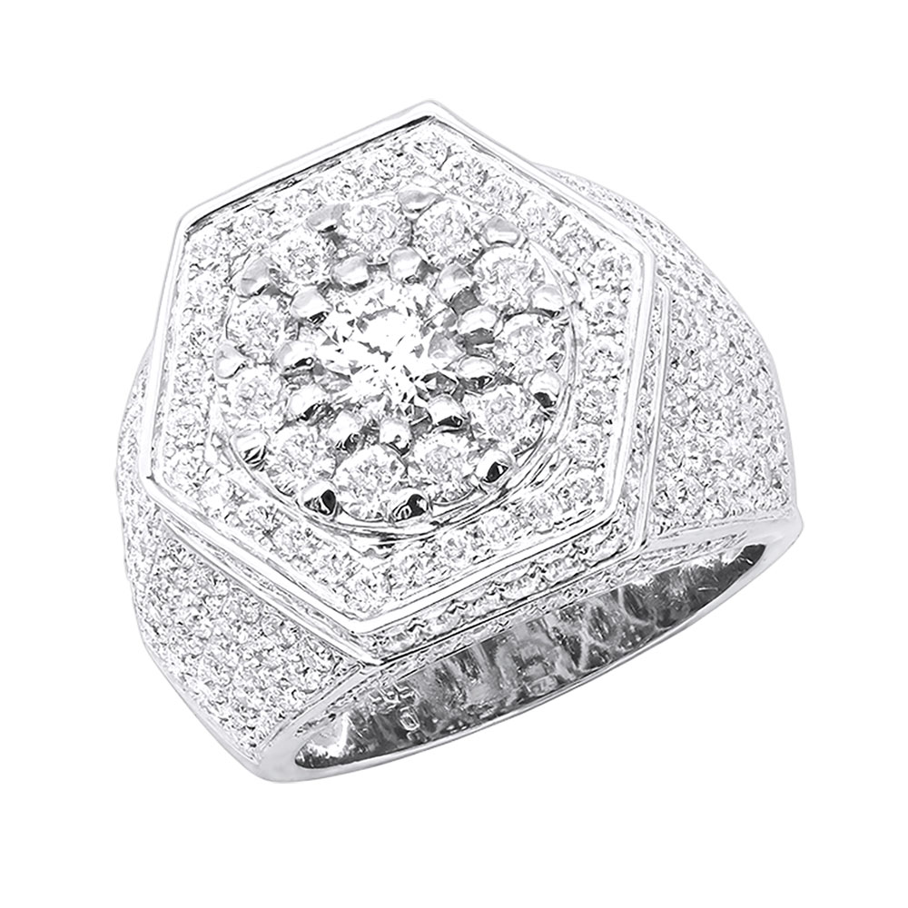 Joe Rodeo Unique Men's Diamond Pinky Ring 14K Gold Statement Jewelry 6.16Ct White Image