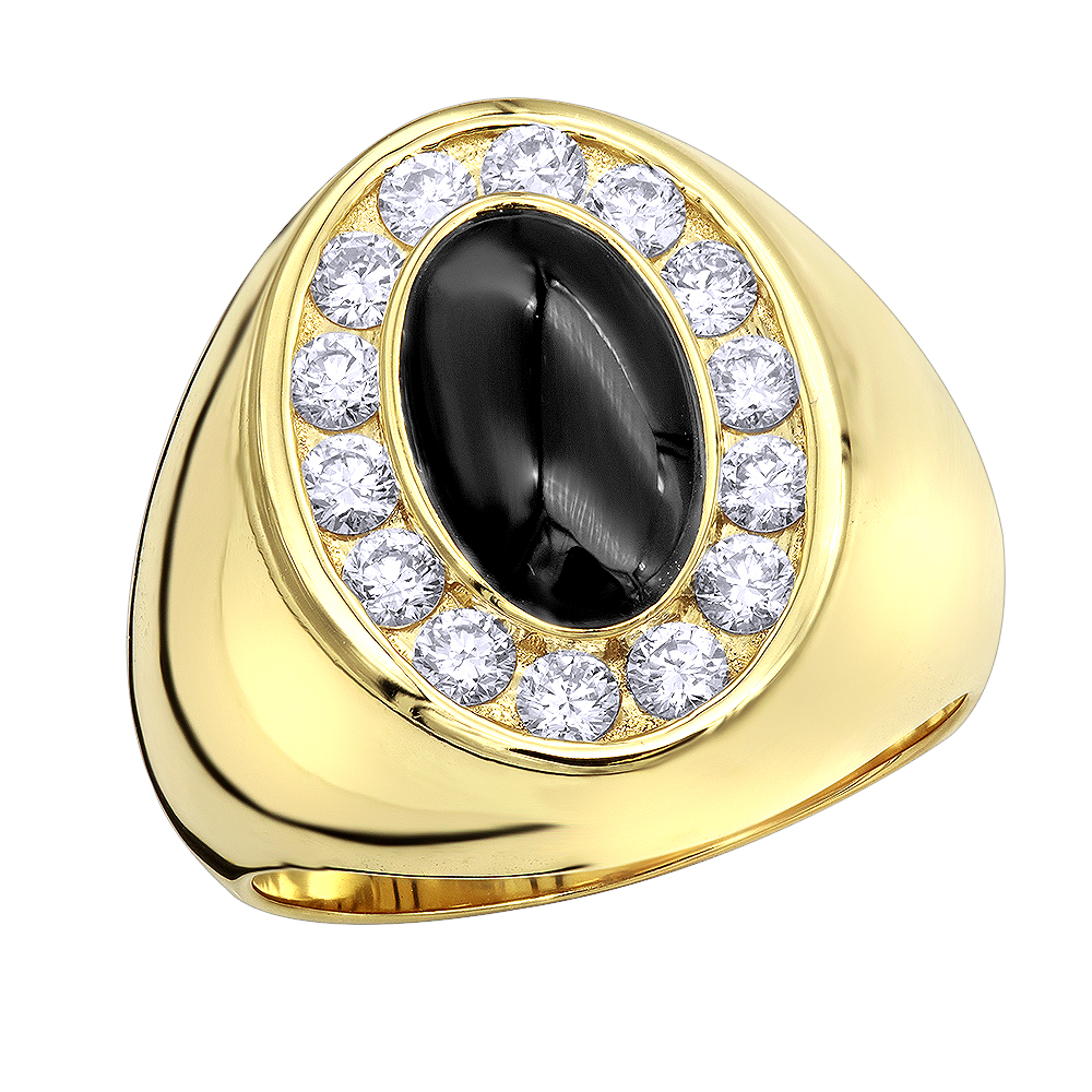 Large 1 Carat Black Onyx Diamond Ring For Men in 14k Gold Pinky Ring Yellow Image