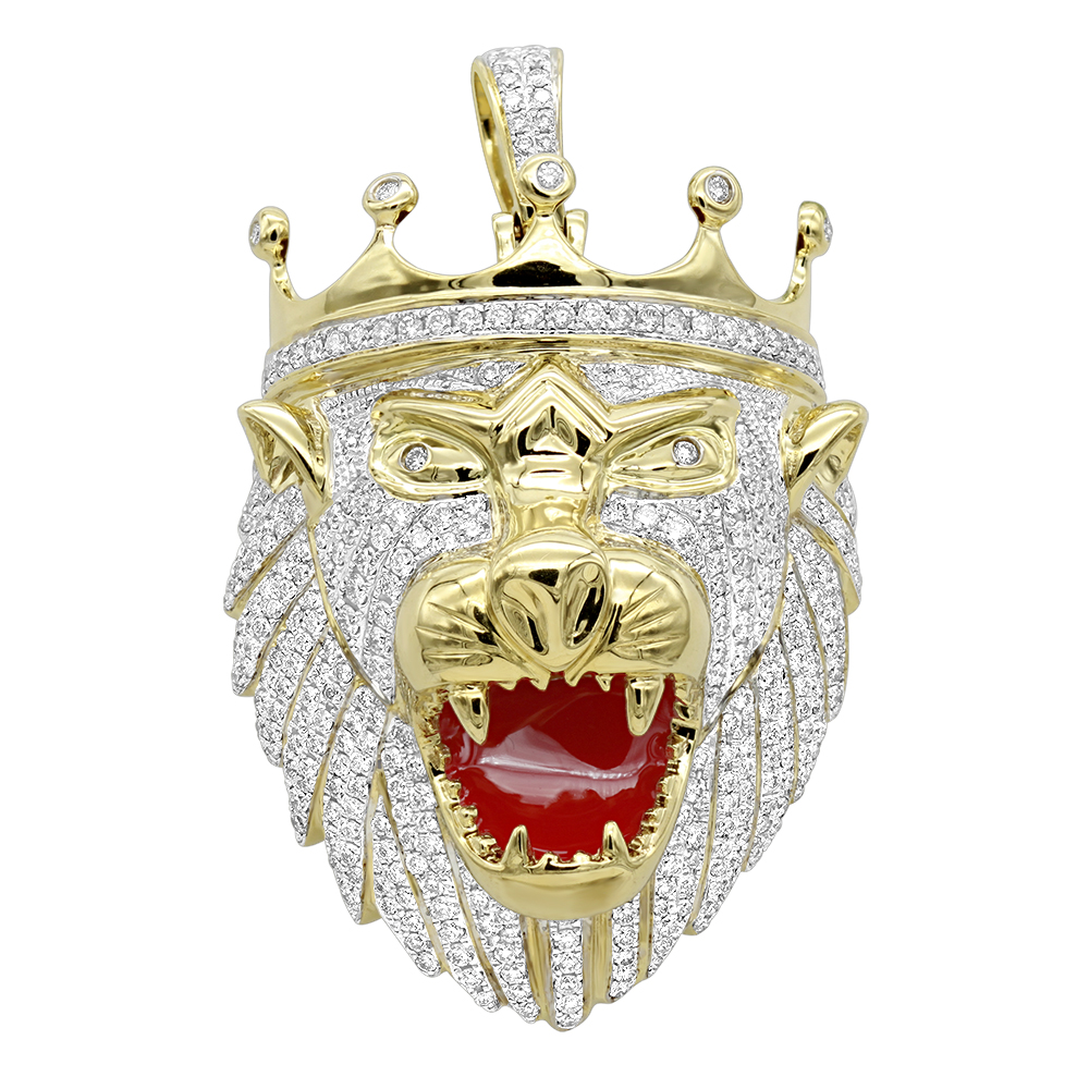Large 10K Gold Diamond Lion Head Pendant for Men w Crown 4ct by Luxurman Yellow Image