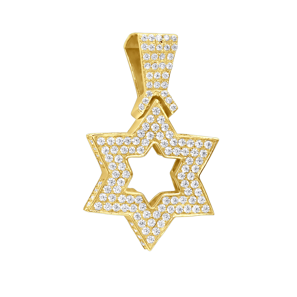Large 14K Gold Diamond Star of David Pendant for Men & Women Jewish Jewelry Yellow Image