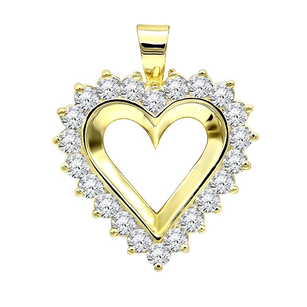 Large 14k Gold Open Heart Diamond Pendant for Women 2.75ct VS Diamonds Yellow Image