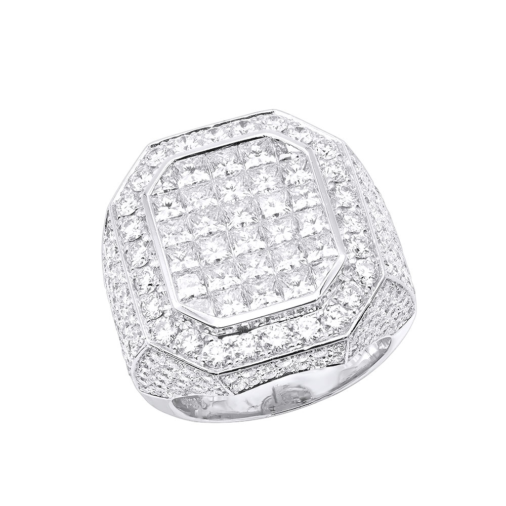 Large 14k Gold Statement Invisible Set Princess Cut Diamond Ring for Men By Joe Rodeo White Image