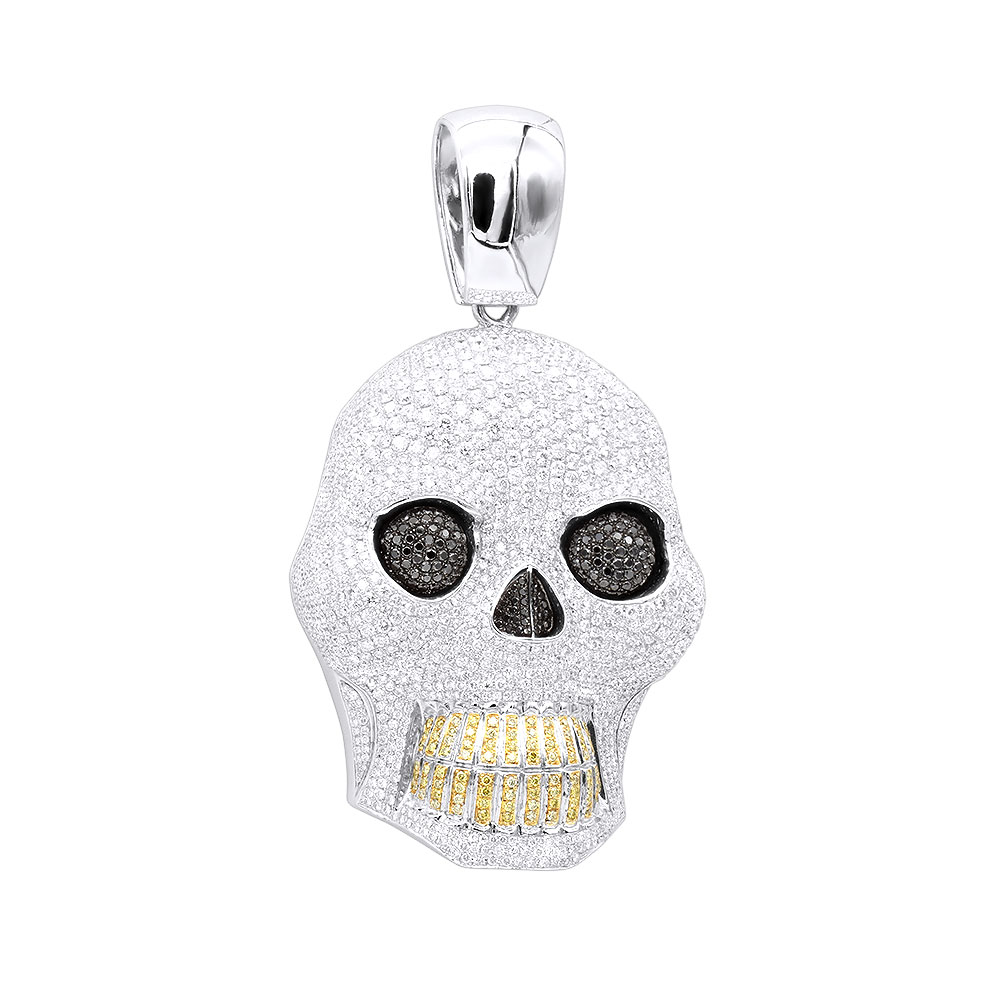 Large 32.12Ct 14K Gold VS White Black Yellow Diamond Skull Pendant for Men White Image