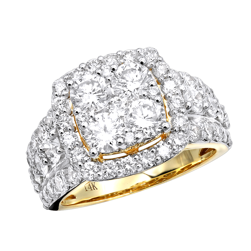 b2fedfd1d5e Large 4 Carat Cushion Cut Shape Halo Diamond Engagement Ring 14K Gold
