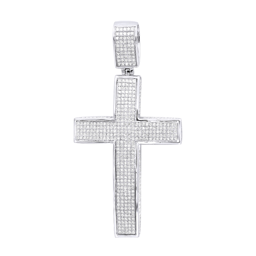 Large Iced Out Diamond Cross Pendant for Men in 14k Gold Side Diamonds