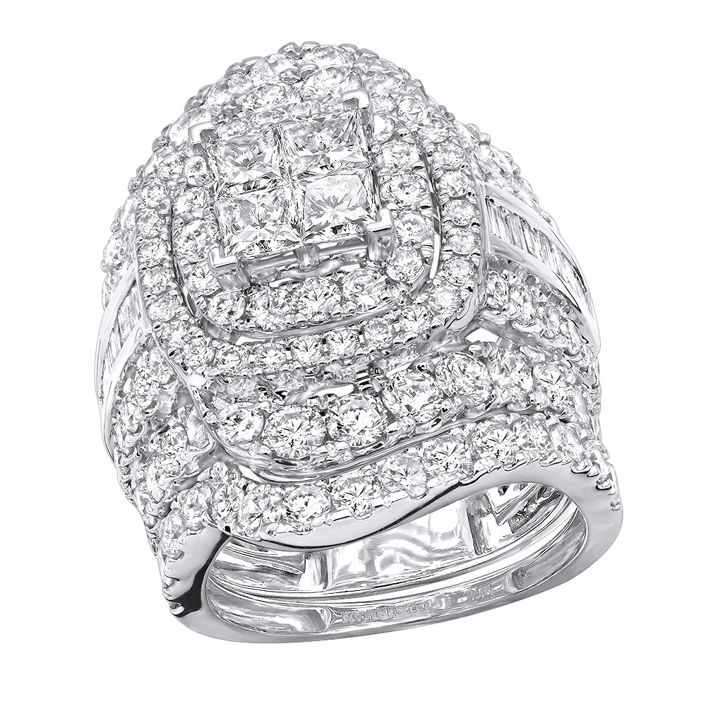 7 Carat Large Princess Baguette Round Diamond Engagement Ring Set 14K Gold White Image