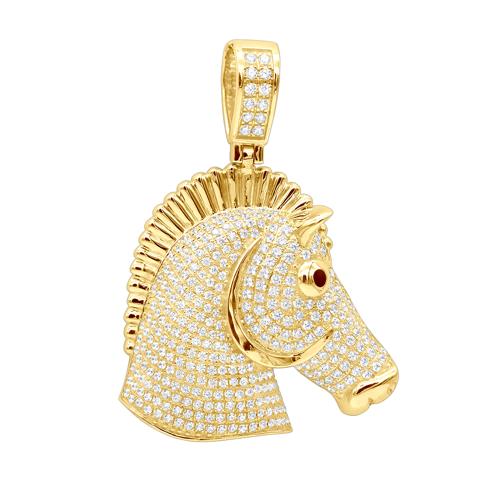 Large Real 10K Gold Horse Head Diamond Pendant For Men 4.5 Carat Yellow Image