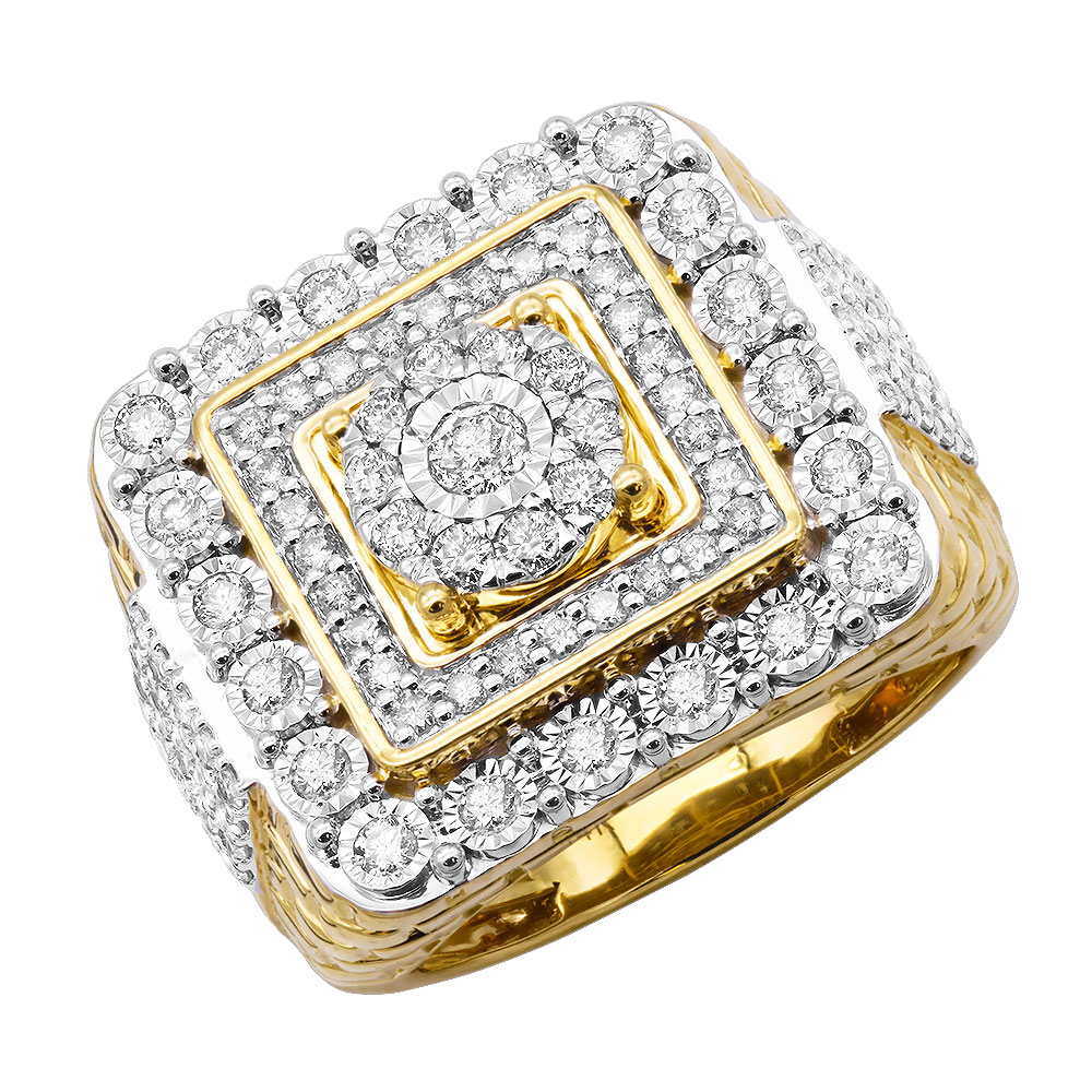 Large Real Hip Hop Diamond Pinky Ring For Men 14k Gold Square Shape 2.25ct Yellow Image
