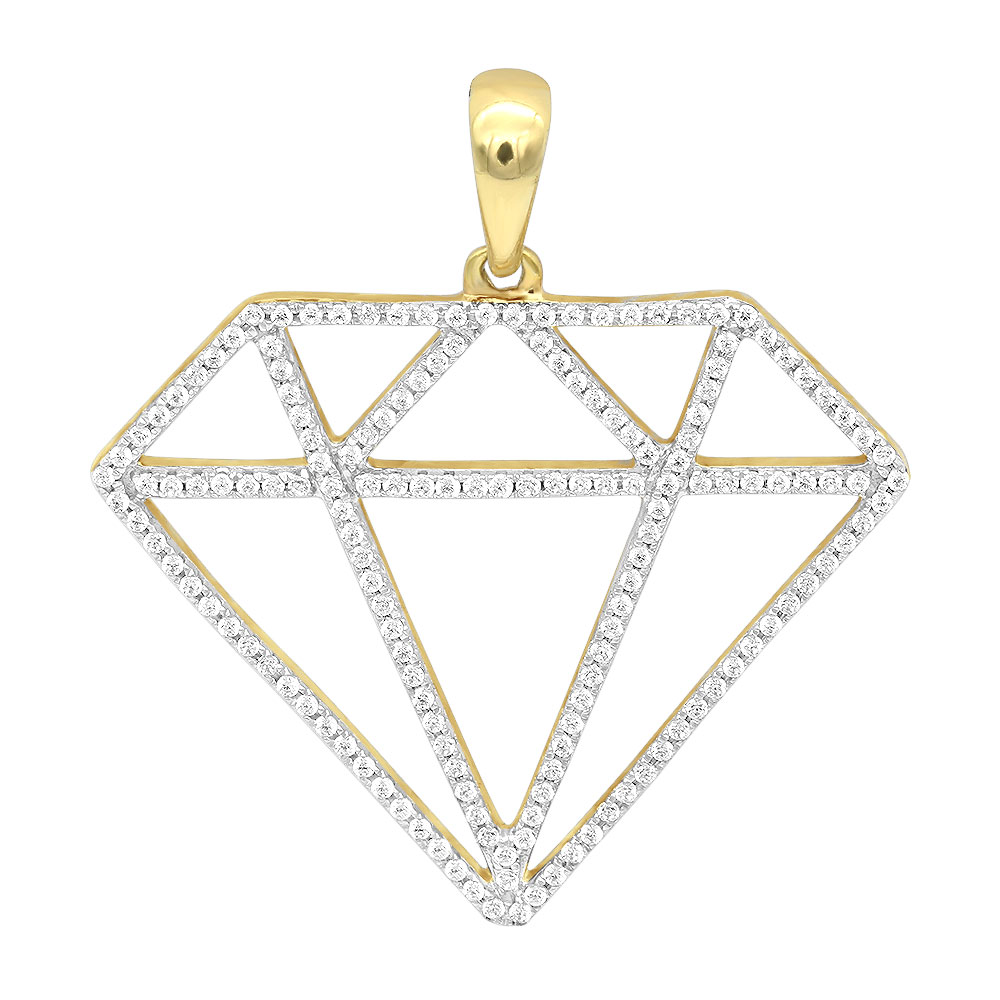 Large Size Diamond Shape Charm Pendant 0.5CT in 14K Gold by Luxurman Yellow Image