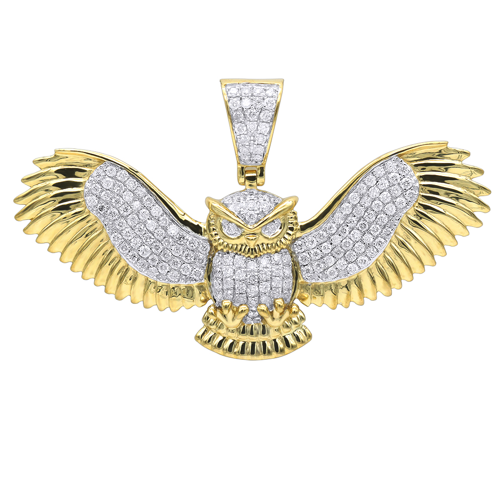 Large Solid 10K Gold Real Diamond Owl Pendant 1 Carat By Luxurman Yellow Image