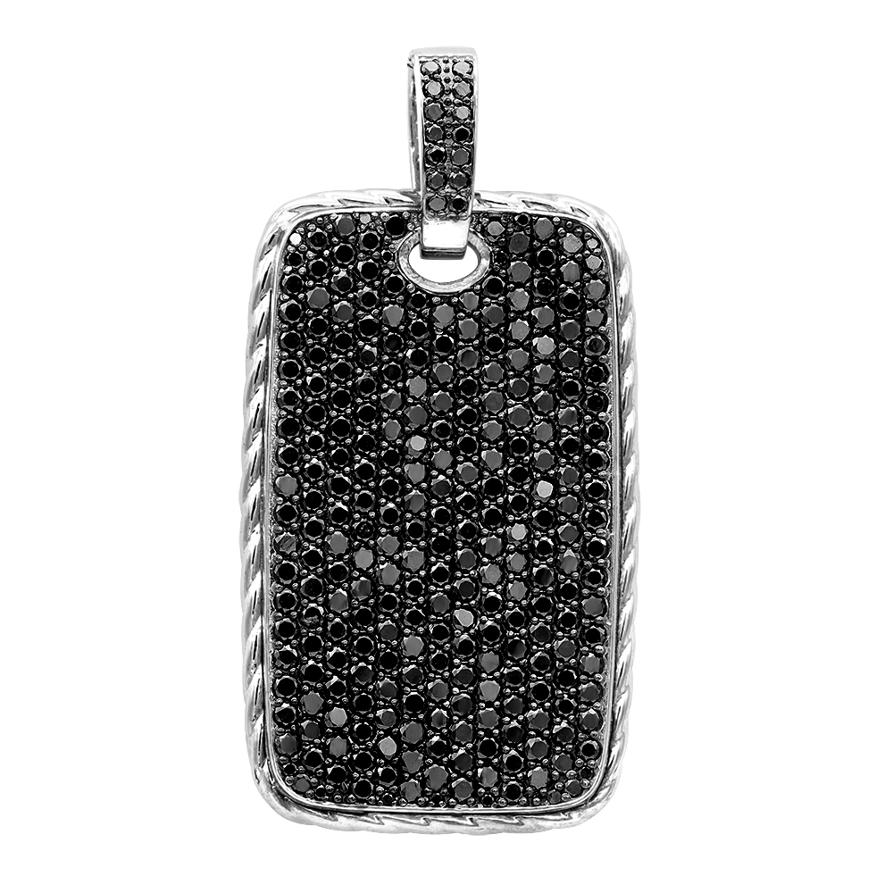 Large Sterling Silver Black Diamond Dog Tag Pendant for Men 14Ct Pave Setting White Image