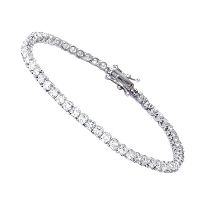 Eternity Line Bracelets: Ladies Diamond Tennis Bracelet 4 Carats 14K Gold  White Image