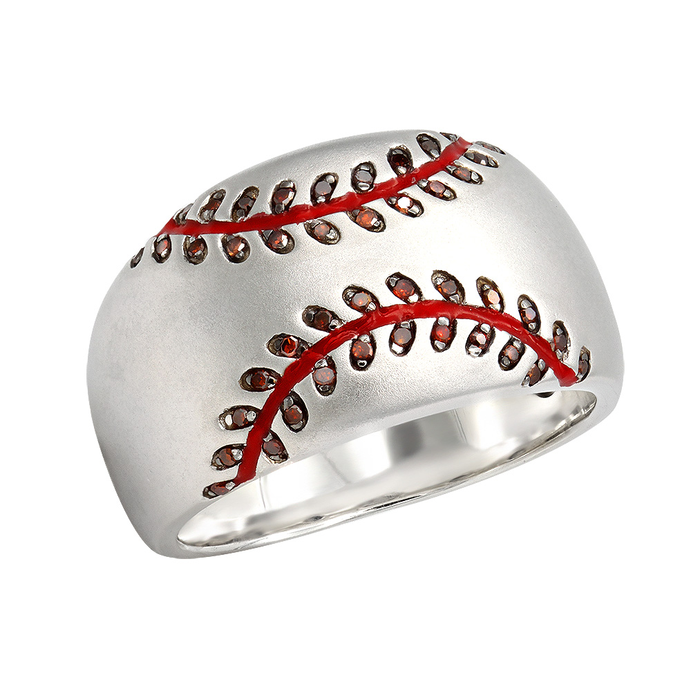 LuvMyJewelry Home Run Baseball Red Diamond & Enamel Band Ring in Sterling Silver 0.16ct White Image