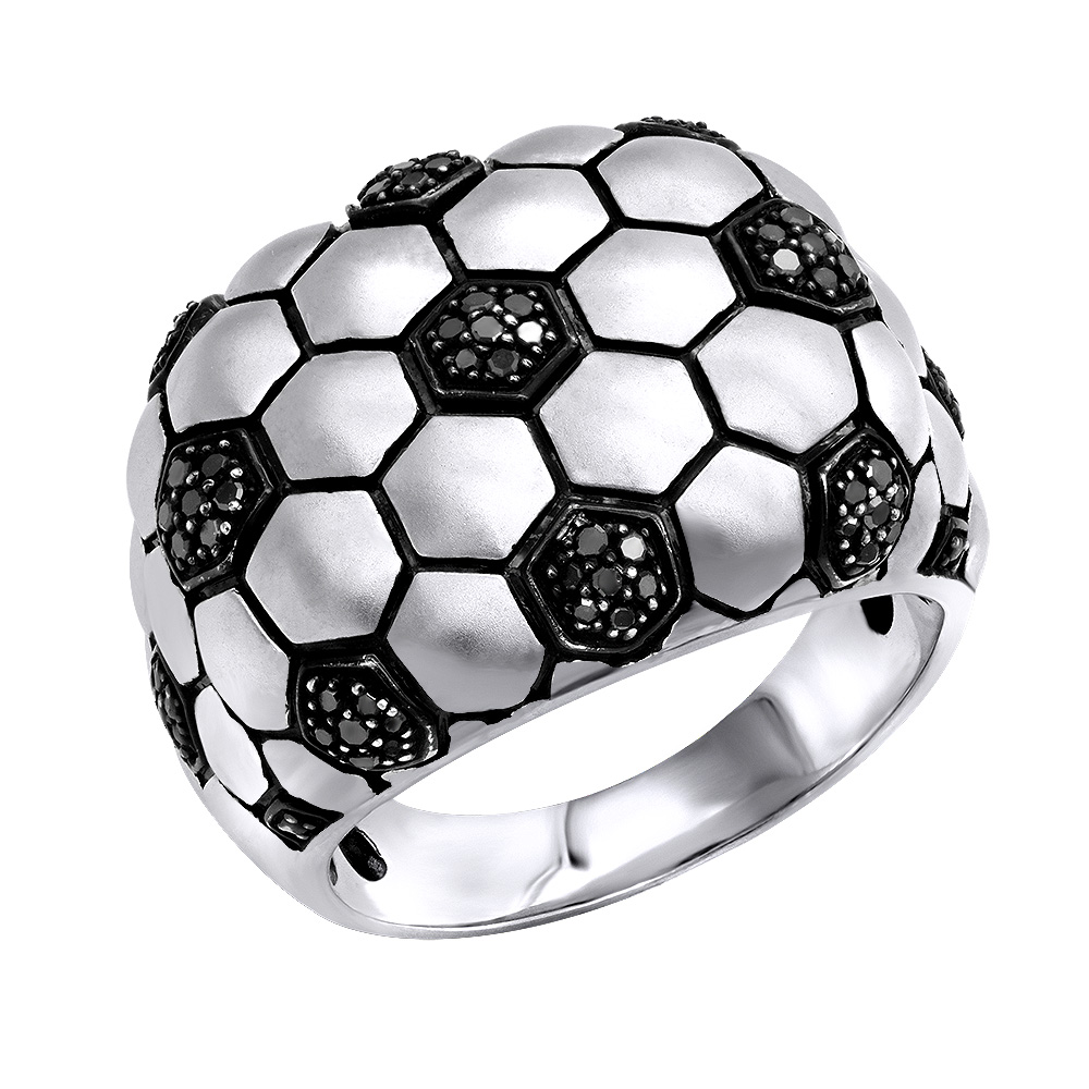 LuvMyJewelry Kick & Goal Soccer Black Diamond Head Ring in Sterling Silver 0.33ct White Image
