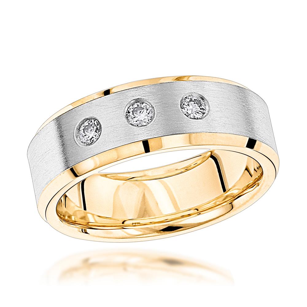 This is an image of Luxurman 40K Gold Two Tone Diamond Wedding Band for Women & Men Comfort Fit