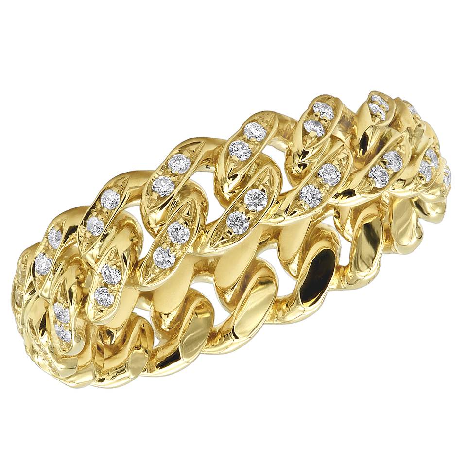 LUXURMAN Bands Solid 14k Gold Cuban Link Chain Diamond Ring for Men 0.7ct Yellow Image