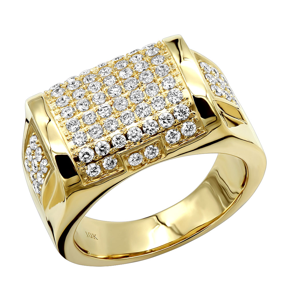 Luxurman Diamond Ring for Men 10k Gold 1.65ct Yellow Image