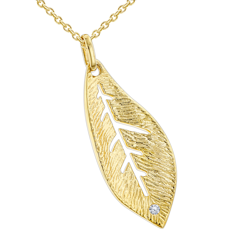Luxurman Love Quotes Sterling Silver Gold Pltd Ladies Diamond Leaf Pendant Main Image