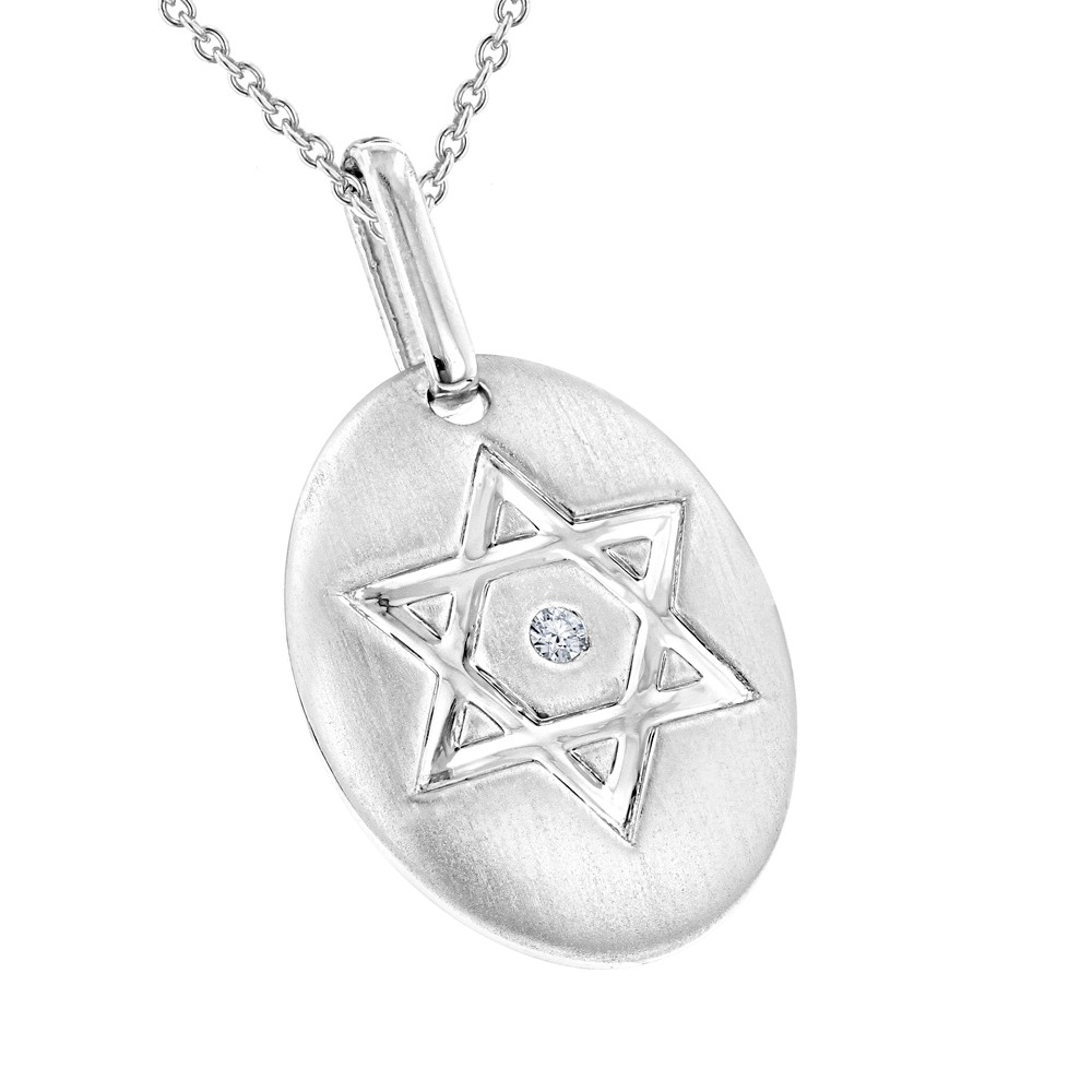 Luxurman Love Quotes:Sterling Silver Diamond Star of David Medallion Pendant Main Image
