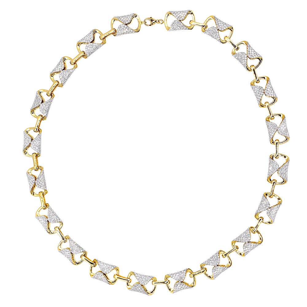 Luxurman Unique 14k Gold Pave Diamond Necklace for Women 12.9ct Yellow Image