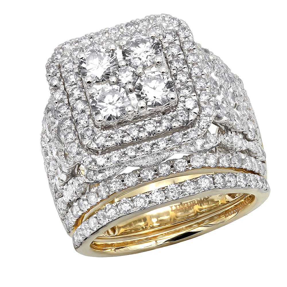 Massive Round 5 Carat Diamond Engagement Ring and Wedding Band Set in 14k Gold Yellow Image