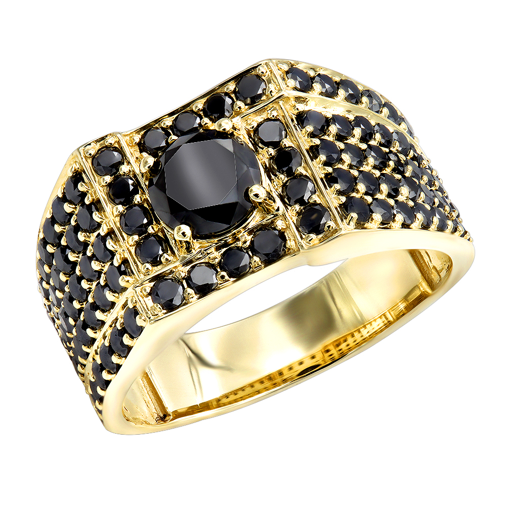 Mens Black Diamond Ring In 10k White Rose Yellow Gold 4 Carat